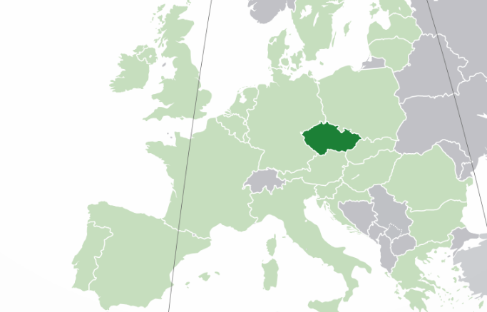 Map showing Czech Republic